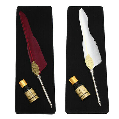 Antique Pure Goose Feather Quill Dip Pen and Ink Set Stationery Gift Box