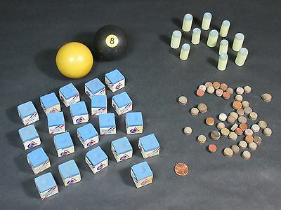 Lot of Vintage Billiards Supplies 8 Ball Superior Chalk Tips Cue Pool Accessory