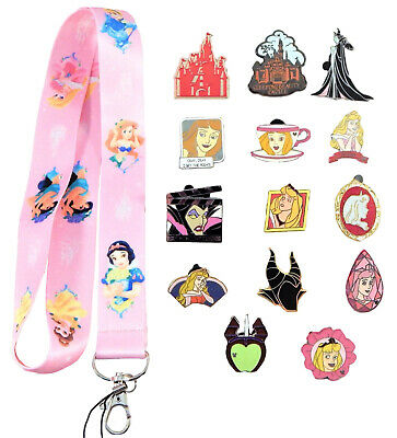 Aurora Sleeping Beauty Starter Lanyard Set w/ 5 Disney Park Trading Pins ~ NEW