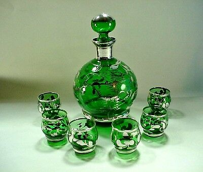 Emerald Green Art Glass Decanter Set w 6 Cordial Glasses Sterling Silver Overlay
