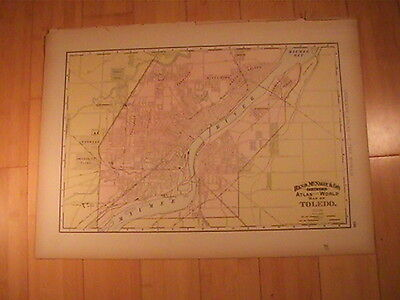 1892  Toledo Ohio Map Rand Mcnally Large 15 X 22 Original Color