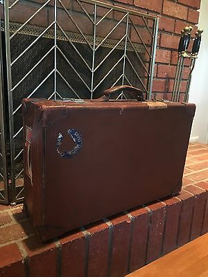 Vintage Abercrombie Leather Suitcase W/ Queen Mary Transit Label
