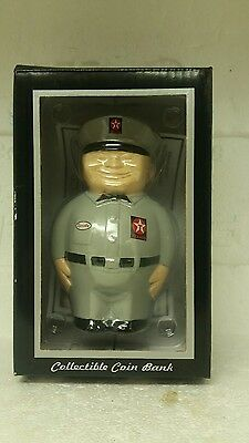 Vintage Texaco Fat Man grey uniform  2000 Coin Bank in Box ~ NEW IN BOX