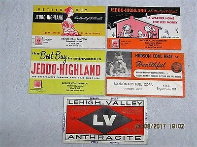 Lot of 5 VINTAGE  Advertising Cards / Blotters - COAL COMPANIES