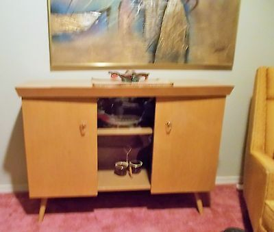 Mid Century Blonde Credenza Sideboard with Lucite Knobs