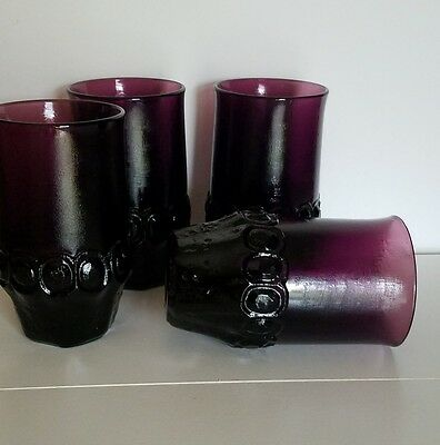 Rare 4 Vintage Tiffin Franciscan Madeira Dark Plum Amethyst Flat Tumble Glasses