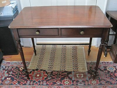 Antique English Mahogany Georgian Writing Table Two Draws on Turned Legs c1790