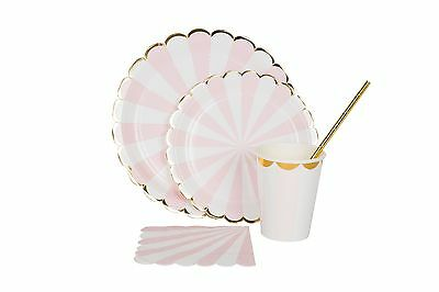Tableware set plates cups napkins straws striped foil mint pink gold silver
