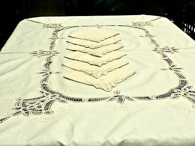 BEAUTIFUL VINTAGE HAND CRAFTED BATTENBURG LACE  & EMBROIDERY TABLECLOTH  180 x 1