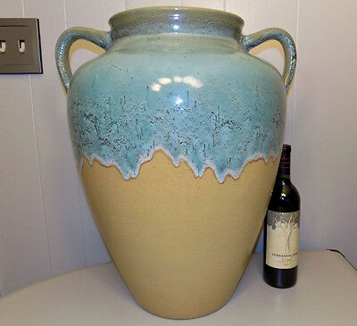 "Major 21"" Zanesville Pottery oil jar floor vase applied handles drip glaze urn"
