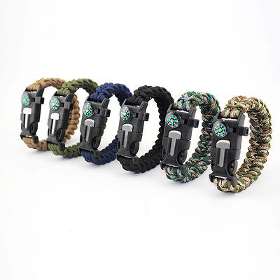 Survival Bracelet Paracord Outdoor Emergency Tools 550 parachute cord compass