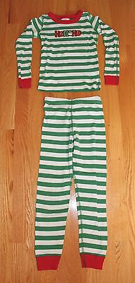 Hanna Andersson Red, Green & White Striped Christmas Pajamas Boys Girls Size 6-7