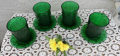 8 Pc Emerald Green Indiana Tiara Glass Tumblers & Dessert Snack Dishes Plates