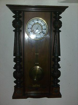 Antique 19th century vintage Vienna style Wall Clock, recently serviced