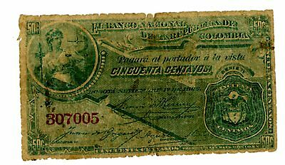 Colombia ... P-191 ... 50 Centavos ... 1886 ... *G-VG*