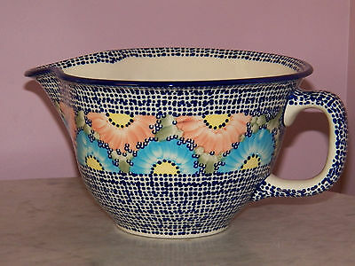 Genuine UNIKAT Polish Pottery Large Batter Bowl! Sweet Gypsy Rose Pattern!