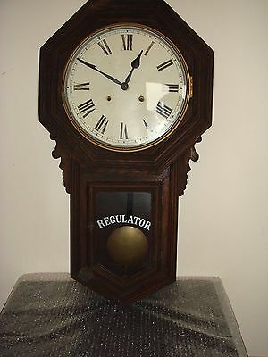 Large Antique Ansonia Octagonal Drop Dial Wall Clock