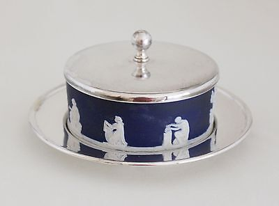 "Antique ADAMS JASPERWARE COBALT BLUE  3.5"" BUTTER DISH w/SILVERPLATE TRAY & LID"