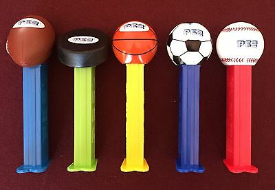 PEZ Sports Set of 5 - Football, Hockey Puck, Basketball, Soccer Ball, & Baseball