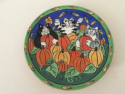 """Catzilla Candace Reiter Handpainted 8"""" Plate Retired 2002 Cats in Pumpkin Patch"""