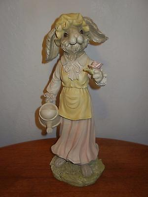 "Tall 18"" Resin Old Fashioned Lady Bunny Rabbit With Watering Can & Rose, PRETTY!"