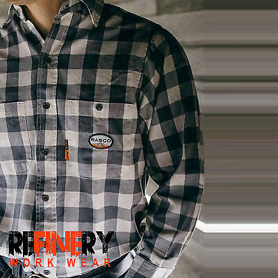 Rasco FR Men's Flame Resistant Gray And White Plaid Work Shirt NFPA 2112 Rated