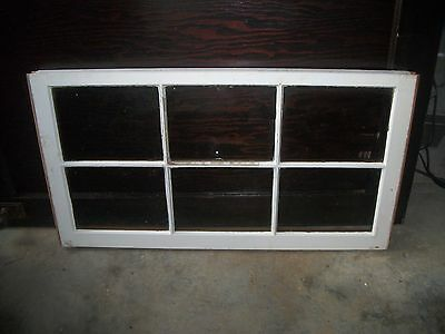 "36 x 19"" Vintage Wood Sash 6 Glass Lite Pane Window With Lock"
