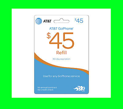AT&T $45 ATT Refill Card TOP up PIN Prepaid Refill Wireless Monthly