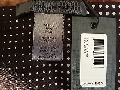 NWT - $248 - JOHN VARVATOS Collection 100% Silk Scarf - Made in Italy