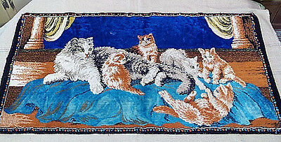 Vintage 1940's CAT Tapestry Rug / Wall Hanging MOM & 5 Playful Kittens 19 X 36
