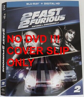 No Discs !! Fast & Furious 2 Blu-Ray Cover Slip Only - No Discs !!    (Inv13279)