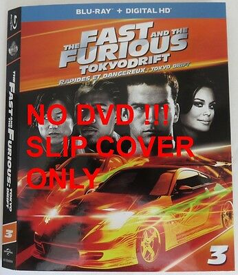 No Discs !! Fast & Furious 3 Blu-Ray Cover Slip Only - No Discs !!    (Inv13278)