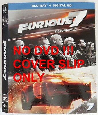 No Discs !! Fast & Furious 7 Blu-Ray Cover Slip Only - No Discs !!    (Inv13296)