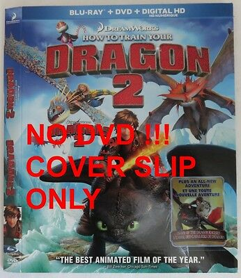 No Discs !! Train Your Dragon 2  Blu-Ray Cover Slip Only - No Discs !!(Inv13294)