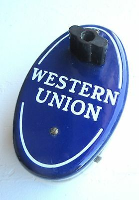 Antique Western Union Working Call Box Cobalt Porcelain