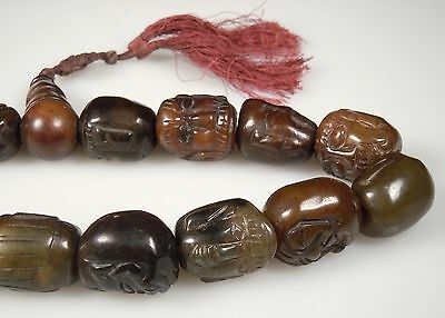 Vintage Chinese Carved Face Prayer Beads