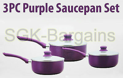 3Pc Induction Ceramic Saucepan Cookware Set With Glass Lid Pan Pot Purple