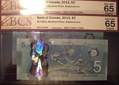 2 Consecutive BC-69bA 2013 $5 Replacement Notes HBZ3732888 - 89 - BCS GemUnc 65