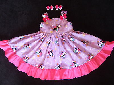NEW custom Minnie Mouse  girls dress size 2T/3,hair bows
