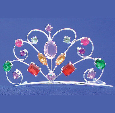 Rainbow Jeweled Tiara Princess Crown Metal Silver Queen Adult Costume Accessory