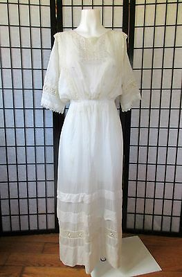 Antique Vtg Dress Edwardian Wedding Gown 1900s 1910s 36 M Embroidered Ivory Maxi