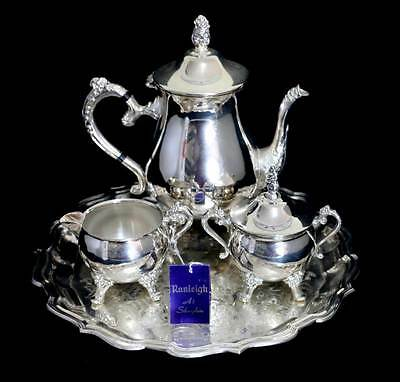 Vintage Ranleigh 4 piece EPNS silver plated coffee pot set with tray AS NEW