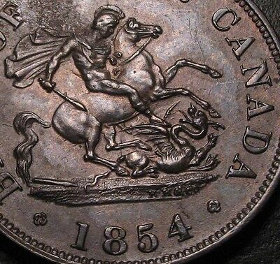 Old Canadian Coins 1854 Bank Of Upper Canada Half Penny Token Unc Choice Gem