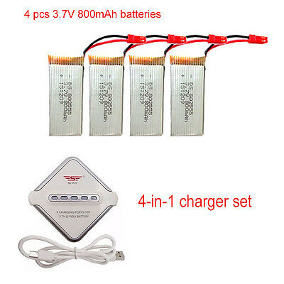 4 pcs 800mAh Battery+JST 4in1 Charger Spare Parts For JJRC H12C F181 Drone
