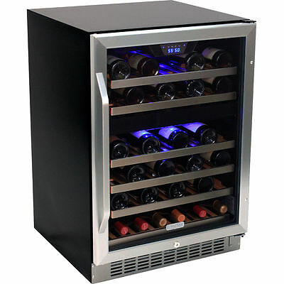 46 Bottle Stainless Steel Wine Refrigerator - Built-In Wood Shelf Compact Cooler