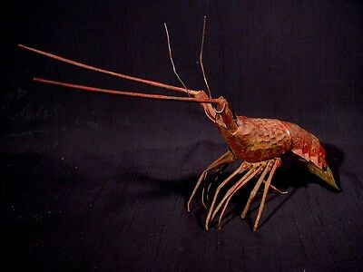 """Antique Japanese Articulated Metal Lobster Jizai Okimono 11.25"""" With Wooden Box"""