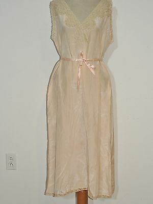 1930's - 1940's Pink Silk Nightgown w Lace Trim MED
