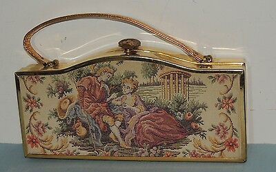 1950s Tapestry Large Box Purse w Metallic Gold Leather