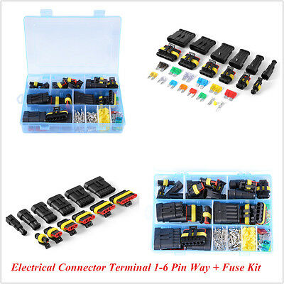 1-6 Pin Way Blade Fuse Kit Car Waterproof Electrical Connector Terminal W/Box