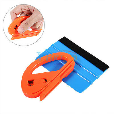 Safety Vinyl Snitty Cutter Felt Edge Squeegee Scraper Wrapping Tools Plastic ES